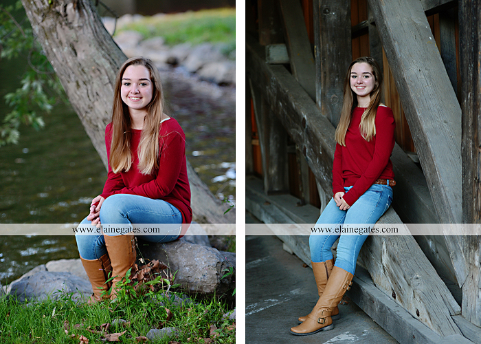 Mechanicsburg Central PA senior portrait photographer outdoor female girl rustic bridge road formal grass trees water stream creek covered bridge wooden beams messiah college path kh 04