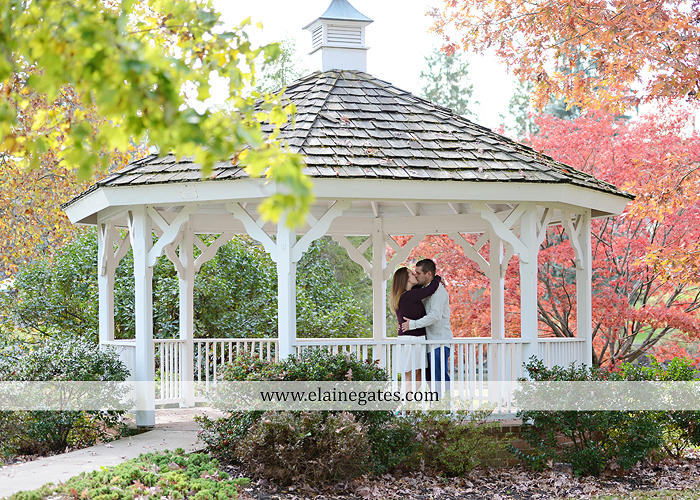 Mechanicsburg Central PA engagement portrait photographer outdoor boiling springs gazebo leaves path trees fence bridge water stream ivy stone steps bricks kiss aj 1