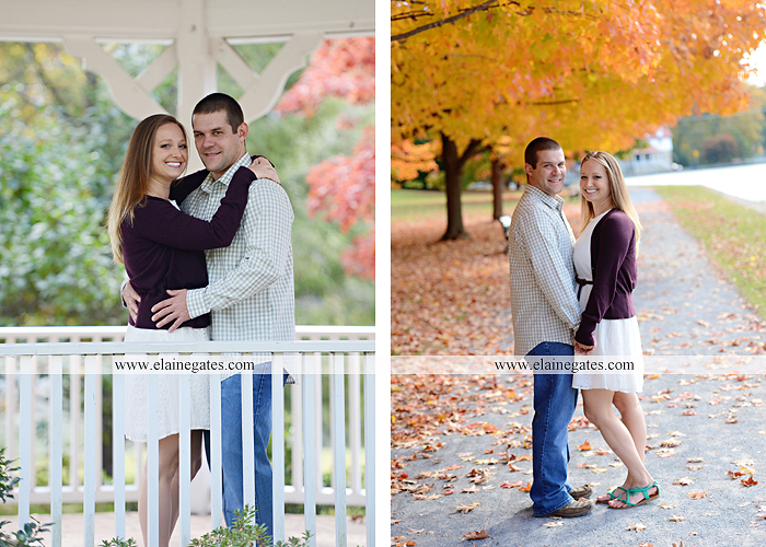 Mechanicsburg Central PA engagement portrait photographer outdoor boiling springs gazebo leaves path trees fence bridge water stream ivy stone steps bricks kiss aj 2