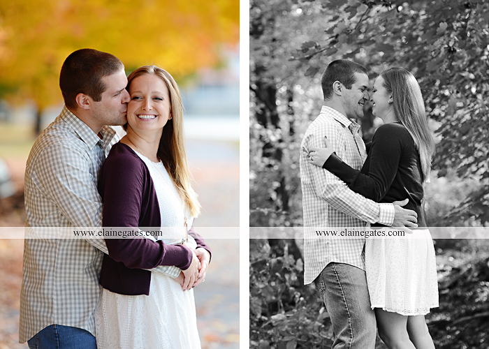 Mechanicsburg Central PA engagement portrait photographer outdoor boiling springs gazebo leaves path trees fence bridge water stream ivy stone steps bricks kiss aj 3