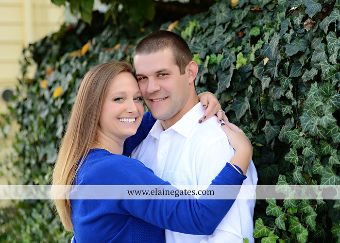 Mechanicsburg Central PA engagement portrait photographer outdoor boiling springs gazebo leaves path trees fence bridge water stream ivy stone steps bricks kiss aj 6