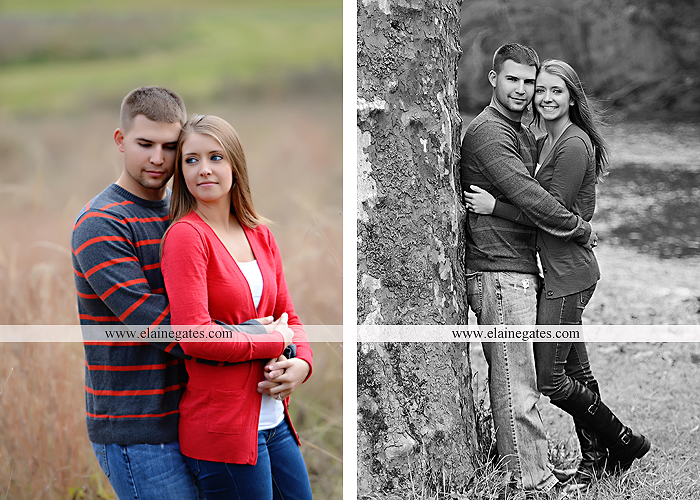 Mechanicsburg Central PA engagement portrait photographer outdoor field road path fall autumn water creek stream rings kiss hugs holding hands mr 2