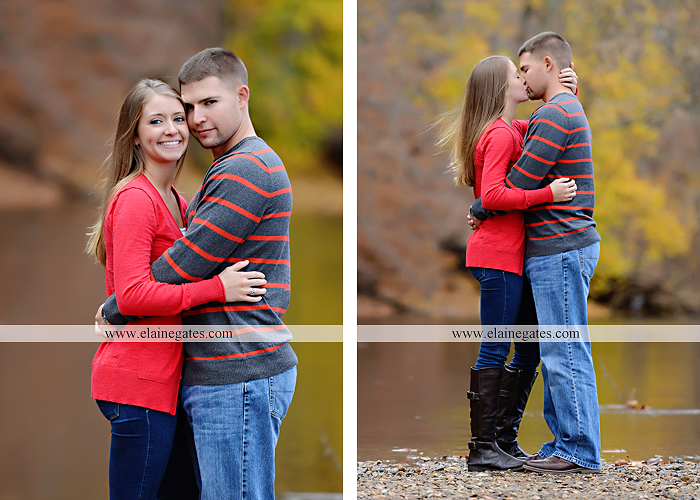 Mechanicsburg Central PA engagement portrait photographer outdoor field road path fall autumn water creek stream rings kiss hugs holding hands mr 4