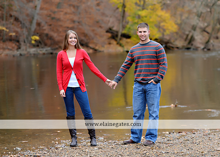 Mechanicsburg Central PA engagement portrait photographer outdoor field road path fall autumn water creek stream rings kiss hugs holding hands mr 5
