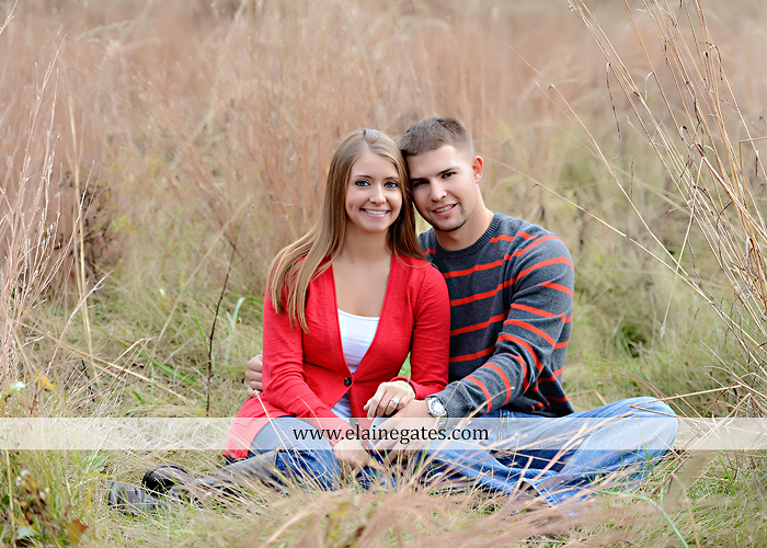 Mechanicsburg Central PA engagement portrait photographer outdoor field road path fall autumn water creek stream rings kiss hugs holding hands mr 6