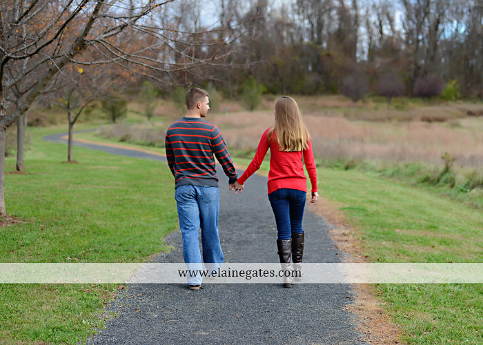 Mechanicsburg Central PA engagement portrait photographer outdoor field road path fall autumn water creek stream rings kiss hugs holding hands mr 7