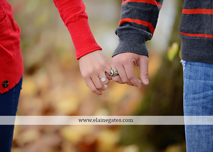 Mechanicsburg Central PA engagement portrait photographer outdoor field road path fall autumn water creek stream rings kiss hugs holding hands mr 8