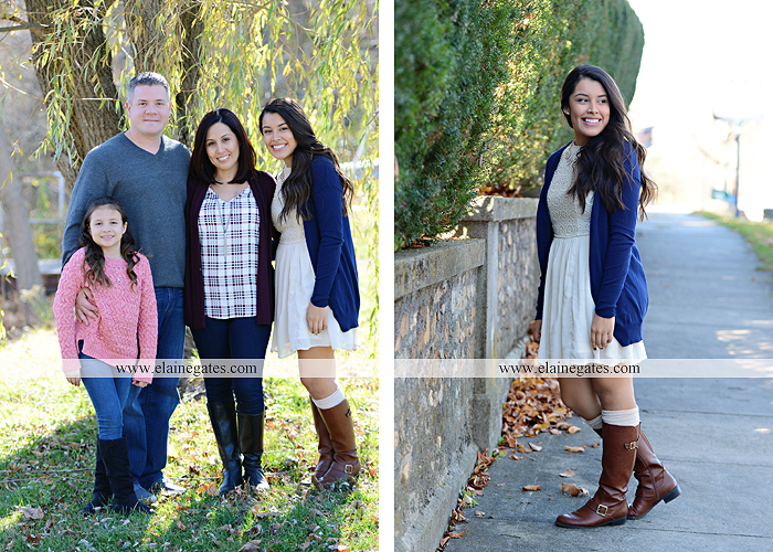 Mechanicsburg Central PA family portrait photographer outdoor girl sisters mother father leaves boiling springs lake trees wood bridge grass stone wall cc 11