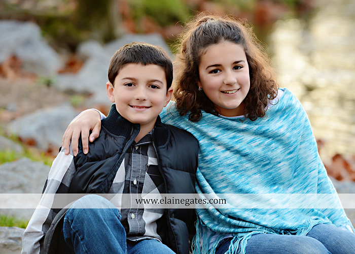 Mechanicsburg Central PA kids children portrait photographer outdoor boy girl brother sister water creek stream covered bridge messiah college leaves rocks wooden beams pittsburgh steelers path lg 1