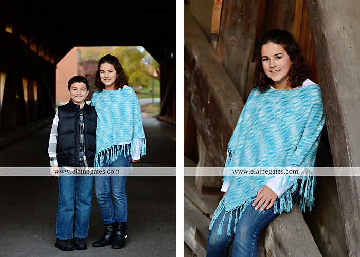 Mechanicsburg Central PA kids children portrait photographer outdoor boy girl brother sister water creek stream covered bridge messiah college leaves rocks wooden beams pittsburgh steelers path lg 4