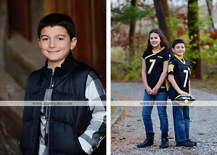 Mechanicsburg Central PA kids children portrait photographer outdoor boy girl brother sister water creek stream covered bridge messiah college leaves rocks wooden beams pittsburgh steelers path lg 7
