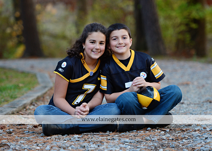 Mechanicsburg Central PA kids children portrait photographer outdoor boy girl brother sister water creek stream covered bridge messiah college leaves rocks wooden beams pittsburgh steelers path lg 8