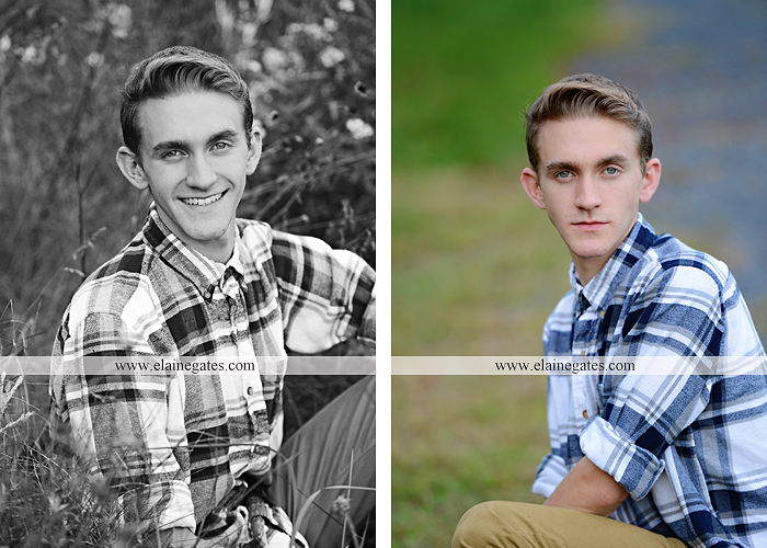 Mechanicsburg Central PA senior portrait photographer outdoor guy male formal trees grass field rustic barn fence pond water bench stump dw 02
