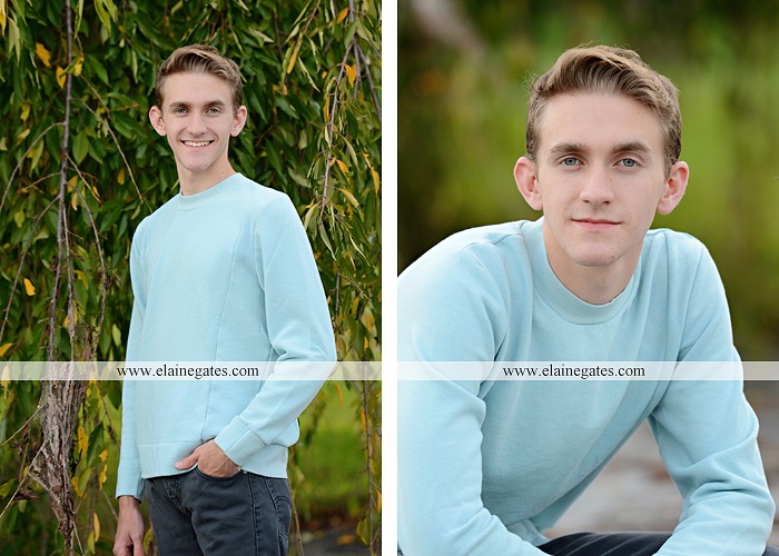 Mechanicsburg Central PA senior portrait photographer outdoor guy male formal trees grass field rustic barn fence pond water bench stump dw 04