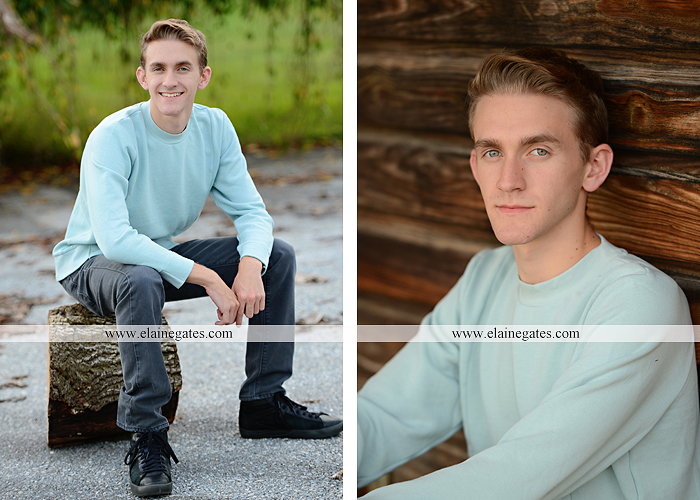 Mechanicsburg Central PA senior portrait photographer outdoor guy male formal trees grass field rustic barn fence pond water bench stump dw 05