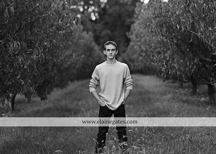Mechanicsburg Central PA senior portrait photographer outdoor guy male formal trees grass field rustic barn fence pond water bench stump dw 06