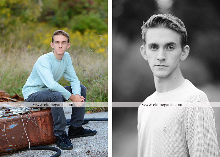 Mechanicsburg Central PA senior portrait photographer outdoor guy male formal trees grass field rustic barn fence pond water bench stump dw 08