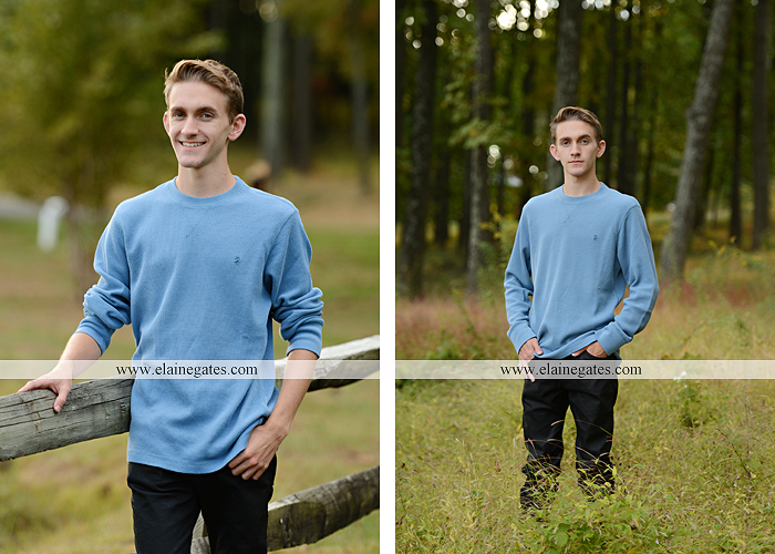 Mechanicsburg Central PA senior portrait photographer outdoor guy male formal trees grass field rustic barn fence pond water bench stump dw 09