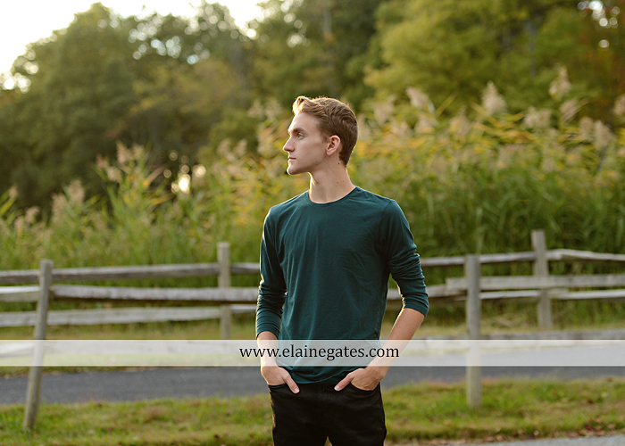 Mechanicsburg Central PA senior portrait photographer outdoor guy male formal trees grass field rustic barn fence pond water bench stump dw 11