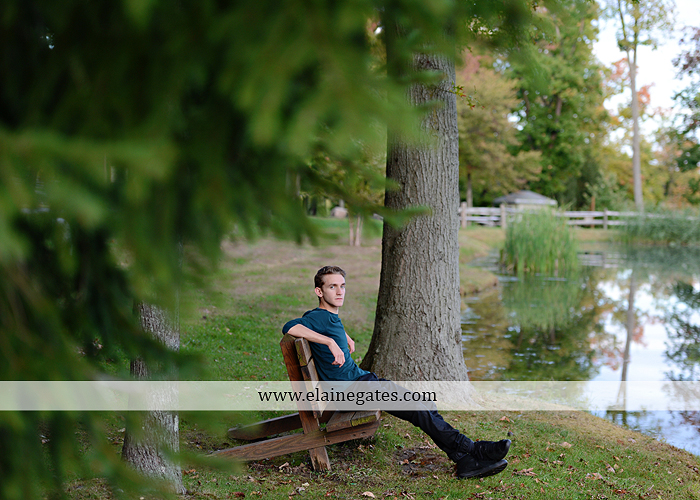 Mechanicsburg Central PA senior portrait photographer outdoor guy male formal trees grass field rustic barn fence pond water bench stump dw 13