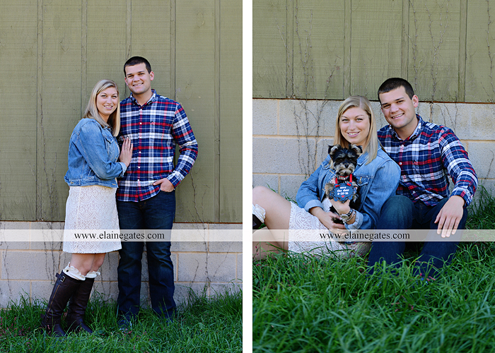 Mechanicsburg Central PA engagement portrait photographer outdoor barn fence field trees leaves dog hockey jersey baseball jersey new york yankees washington capitals bride groom mh 1