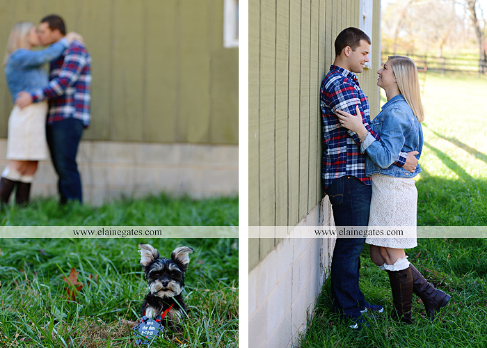 Mechanicsburg Central PA engagement portrait photographer outdoor barn fence field trees leaves dog hockey jersey baseball jersey new york yankees washington capitals bride groom mh 2