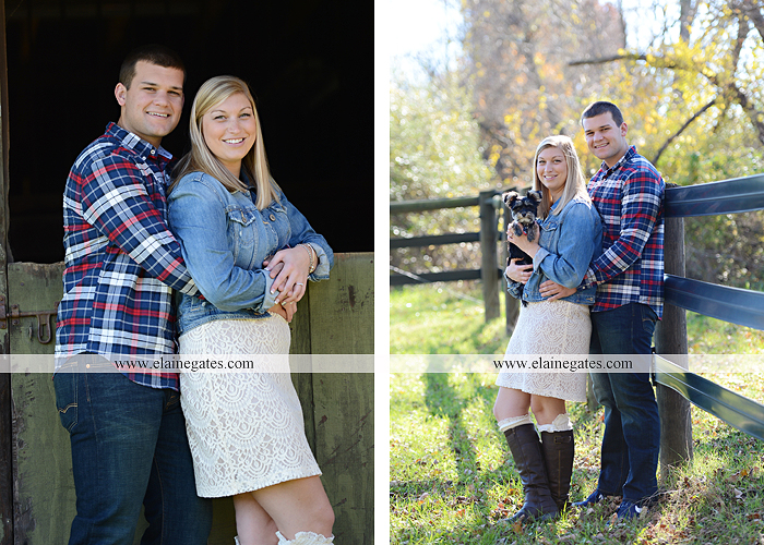 Mechanicsburg Central PA engagement portrait photographer outdoor barn fence field trees leaves dog hockey jersey baseball jersey new york yankees washington capitals bride groom mh 3