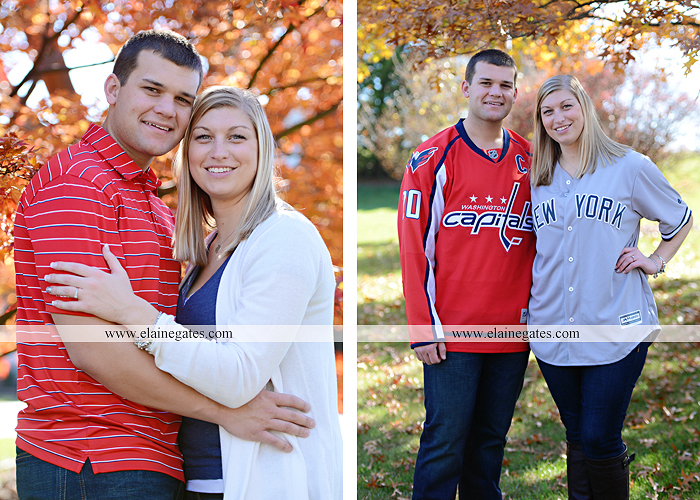 Mechanicsburg Central PA engagement portrait photographer outdoor barn fence field trees leaves dog hockey jersey baseball jersey new york yankees washington capitals bride groom mh 7