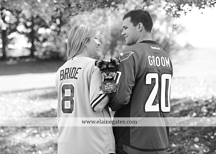 Mechanicsburg Central PA engagement portrait photographer outdoor barn fence field trees leaves dog hockey jersey baseball jersey new york yankees washington capitals bride groom mh 9