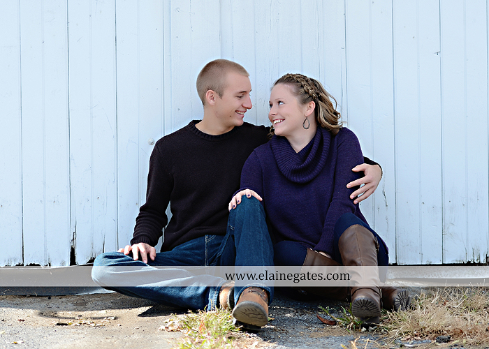 Mechanicsburg Central PA engagement portrait photographer outdoor barn grass trees field truck pumpkin silo path hug kiss ring sm 1