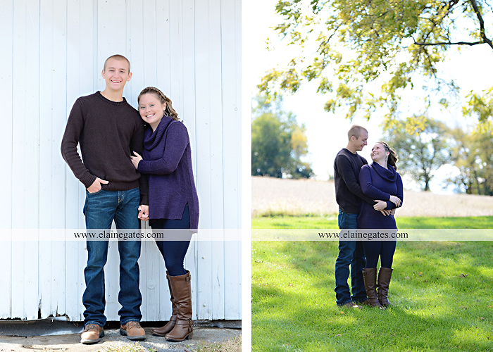 Mechanicsburg Central PA engagement portrait photographer outdoor barn grass trees field truck pumpkin silo path hug kiss ring sm 3