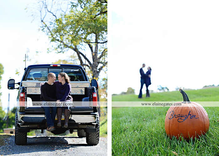 Mechanicsburg Central PA engagement portrait photographer outdoor barn grass trees field truck pumpkin silo path hug kiss ring sm 7