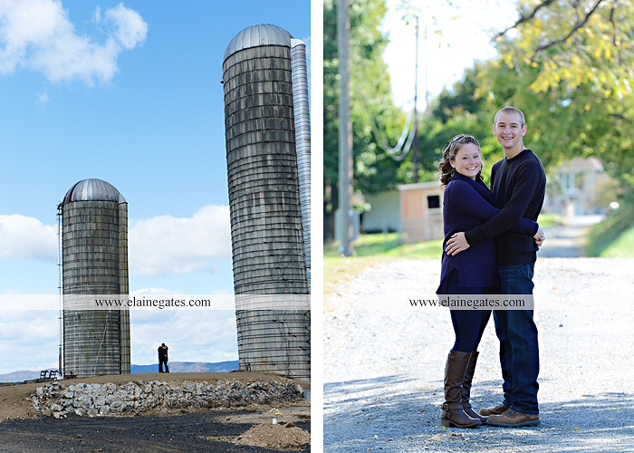 Mechanicsburg Central PA engagement portrait photographer outdoor barn grass trees field truck pumpkin silo path hug kiss ring sm 8