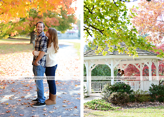 Mechanicsburg Central PA engagement portrait photographer outdoor boiling springs lake water grass trees leaves gazebo ducks ivy stone wall path heart wreath ra 6