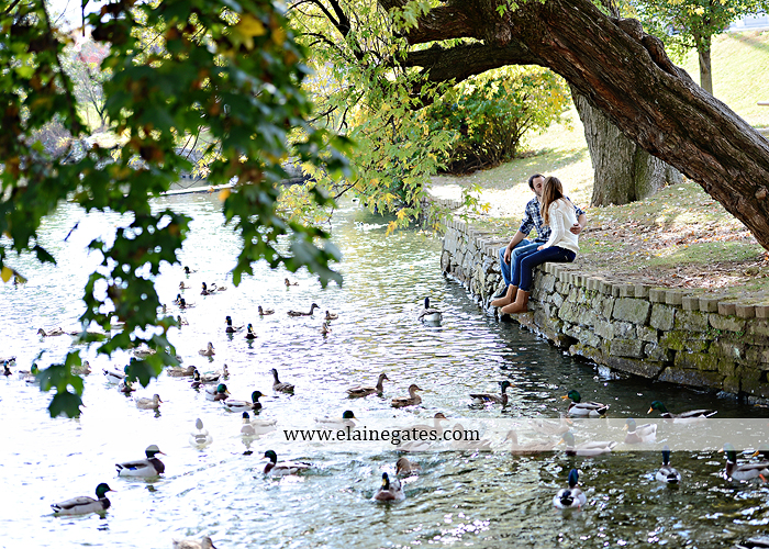 Mechanicsburg Central PA engagement portrait photographer outdoor boiling springs lake water grass trees leaves gazebo ducks ivy stone wall path heart wreath ra 7