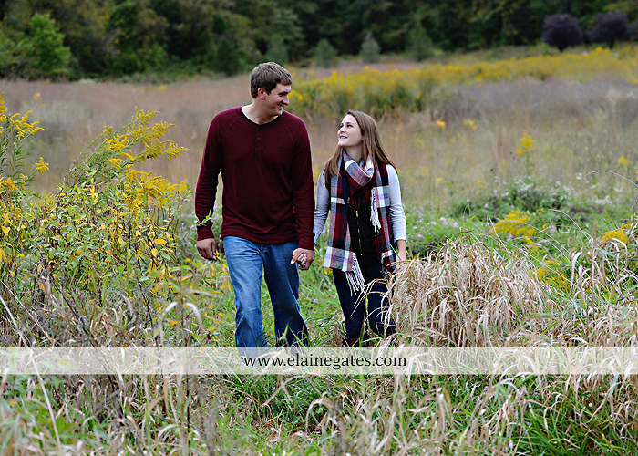 Mechanicsburg Central PA engagement portrait photographer outdoor fence field path fall water creek stream grass rocks shore kiss hug lb 2