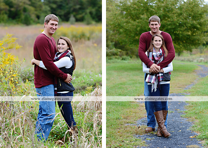 Mechanicsburg Central PA engagement portrait photographer outdoor fence field path fall water creek stream grass rocks shore kiss hug lb 3