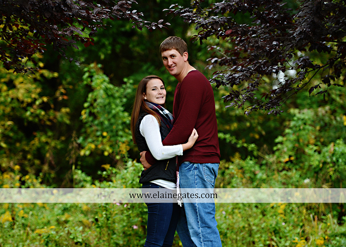 Mechanicsburg Central PA engagement portrait photographer outdoor fence field path fall water creek stream grass rocks shore kiss hug lb 4