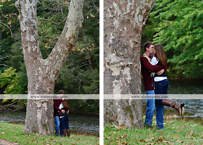 Mechanicsburg Central PA engagement portrait photographer outdoor fence field path fall water creek stream grass rocks shore kiss hug lb 5