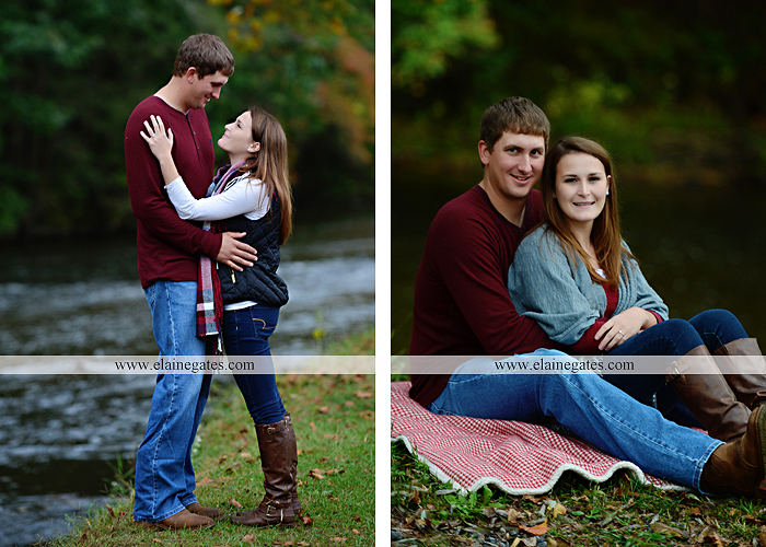 Mechanicsburg Central PA engagement portrait photographer outdoor fence field path fall water creek stream grass rocks shore kiss hug lb 6