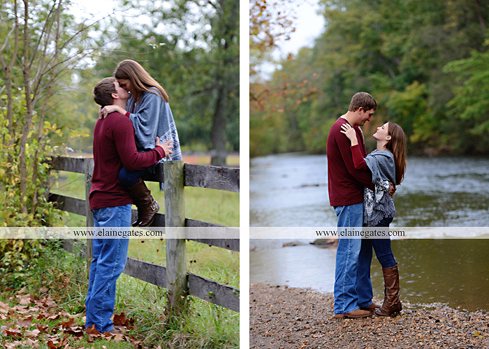 Mechanicsburg Central PA engagement portrait photographer outdoor fence field path fall water creek stream grass rocks shore kiss hug lb 8
