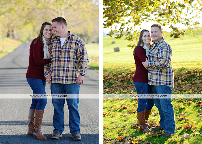 Mechanicsburg Central PA engagement portrait photographer outdoor road trees leaves fence water stream creek ring fishing hook rod hay bale hug kiss kk 02