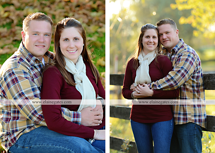 Mechanicsburg Central PA engagement portrait photographer outdoor road trees leaves fence water stream creek ring fishing hook rod hay bale hug kiss kk 03
