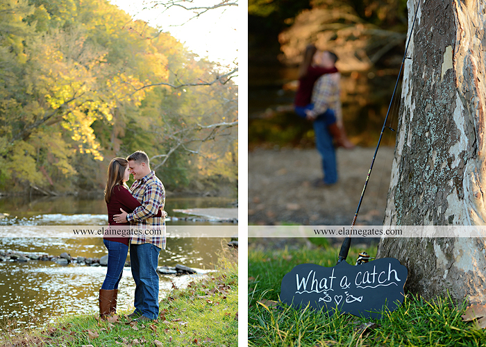 Mechanicsburg Central PA engagement portrait photographer outdoor road trees leaves fence water stream creek ring fishing hook rod hay bale hug kiss kk 05