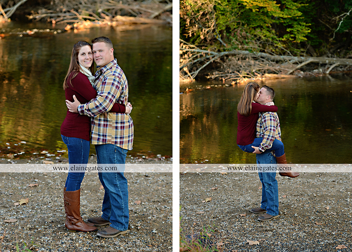 Mechanicsburg Central PA engagement portrait photographer outdoor road trees leaves fence water stream creek ring fishing hook rod hay bale hug kiss kk 06