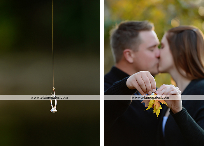 Mechanicsburg Central PA engagement portrait photographer outdoor road trees leaves fence water stream creek ring fishing hook rod hay bale hug kiss kk 07