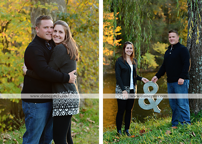 Mechanicsburg Central PA engagement portrait photographer outdoor road trees leaves fence water stream creek ring fishing hook rod hay bale hug kiss kk 08