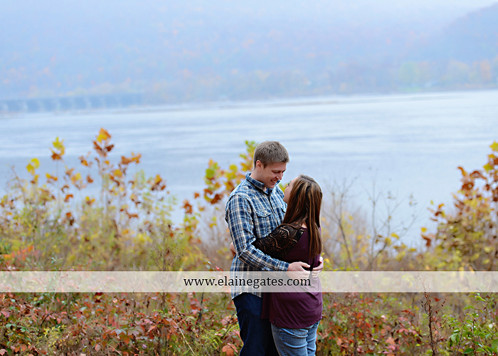 Mechanicsburg Central PA engagement portrait photographer outdoor water river trees leaves rocks dog path pumpkins covered bridge steps stone barn kiss kg 01