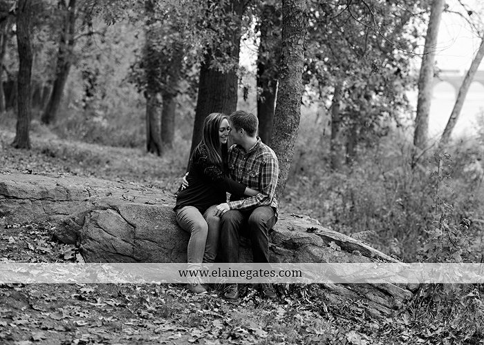 Mechanicsburg Central PA engagement portrait photographer outdoor water river trees leaves rocks dog path pumpkins covered bridge steps stone barn kiss kg 02