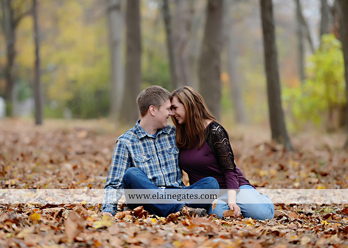 Mechanicsburg Central PA engagement portrait photographer outdoor water river trees leaves rocks dog path pumpkins covered bridge steps stone barn kiss kg 03